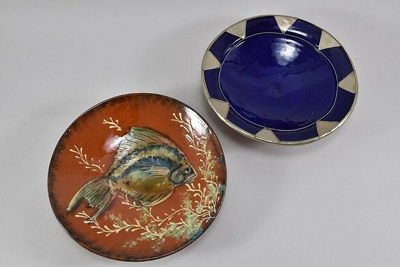 Set of Two Bowls, Fish Motif & Metal Decoration