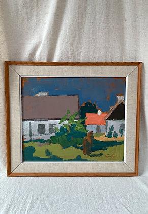 FramedOil on panel, House and tree, signed Frans L.