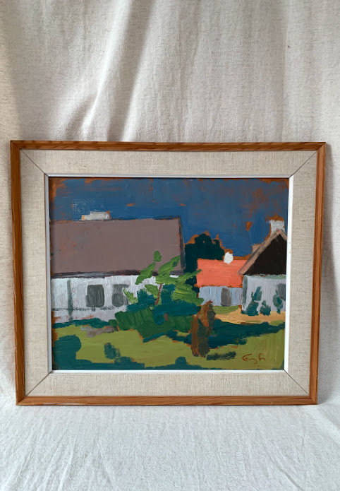 Framed Oil on panel, House and tree, signed Frans L.