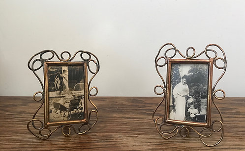 pair of miniature rectangular Art Nouveau style picture / photo frames.