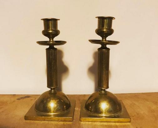 A Pair of Antique Brass Candlesticks