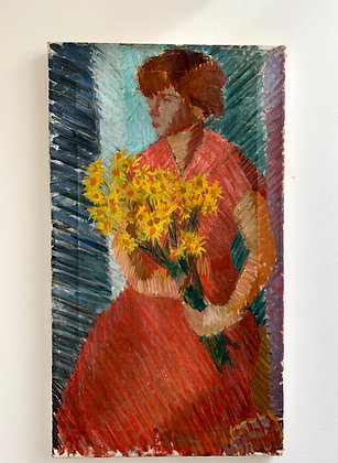 Oil Painting on Canvas, Girl and Flowers, by Alf Olsson