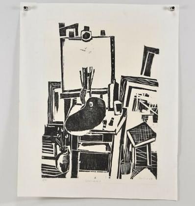 Woodcut, Signed Gustav Grund