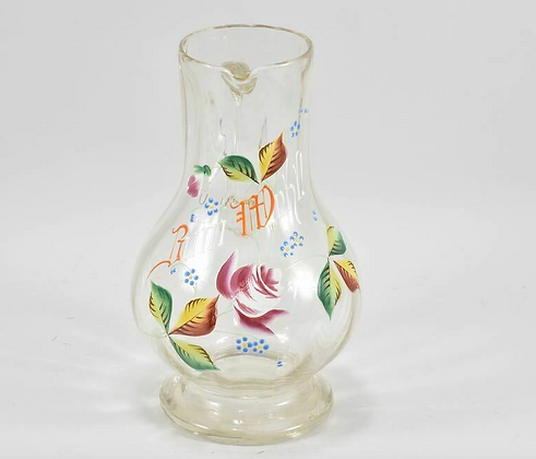 19th Century German Glass Jug, Enamel