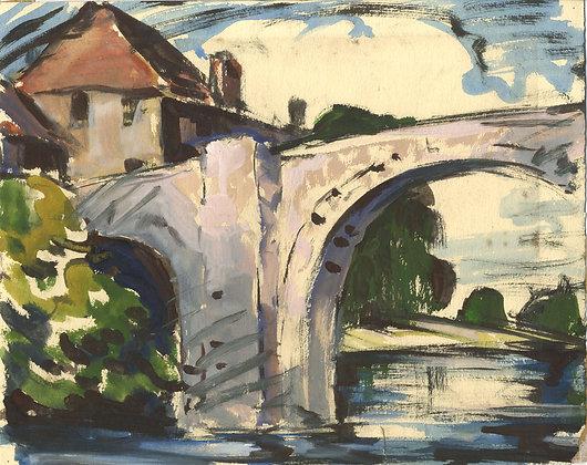 Mid 20th Century Gouache - White Arched Bridge