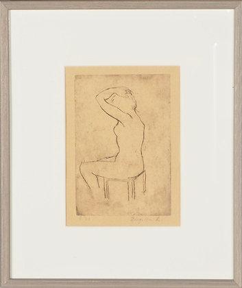 Framed Lithograph 'Silence', by Birgitta Lundh