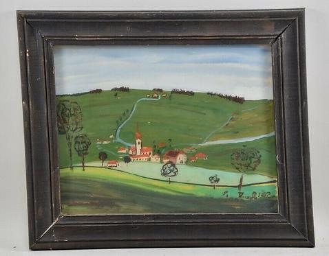 Reverse Glass Painting, German, 1972
