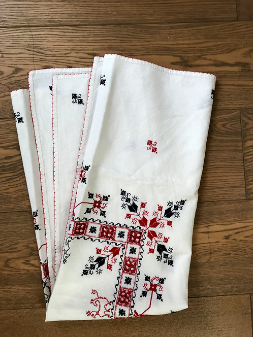 Vintage Embroidered Cotton Tablecloth