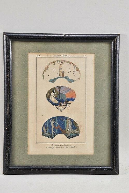 "Art Nouveau lithography, handcrafted, ""Costumes Parisienne"""