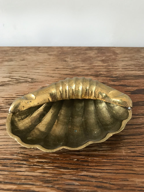Small Vintage Brass Shell Ashtray
