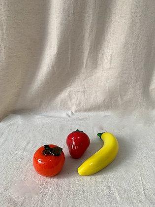 3 x Murano style glass fruits. Banana. Strawberry and Orange.