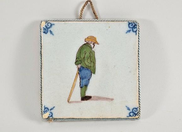 Antique faience tile painted 18th century