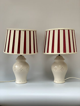 Pair of Vintage Ceramic Lamps With Shades