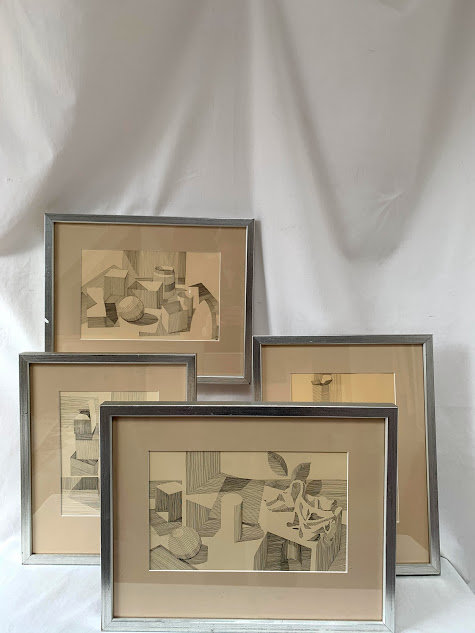 Set of Four Geometric Drawings by Wilhelm Lindvall