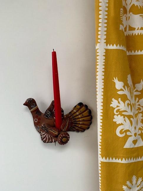 Bird Sconce, hand painted,terracotta.