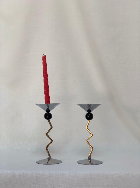 Pair of Vintage Metal Candlesticks