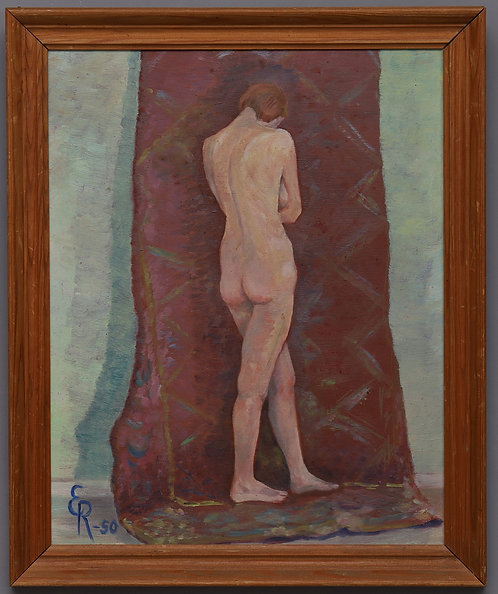 Framed Mid Century Oil, Initialed E.R, dated '50