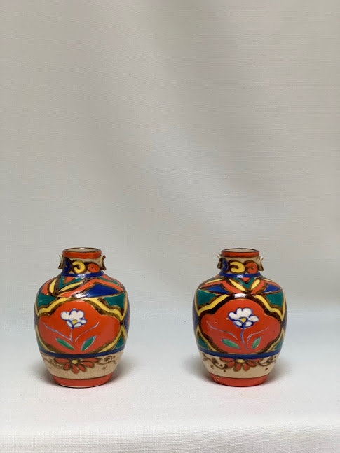 Pair of Art Deco Japanese Vases Vibrantly Painted with Crackle Ware