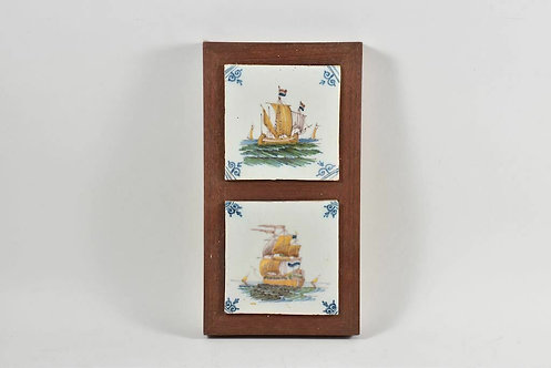 Tiles on wooden panel, hand-painted, sailing ships, Netherlands