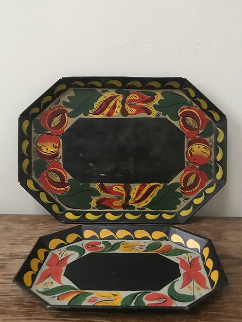 A Pair of Vintage Toleware Trays.