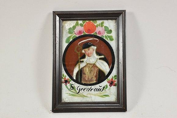 Reverse Glass Painting, St Gertrude, Glass Broken