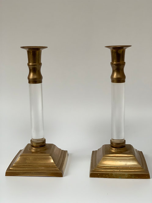 Pair of Vintage Brass and Lucite Candlesticks