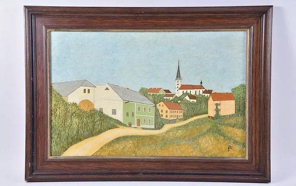 Vintage Oil Painting, Village View, framed