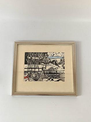 Mid Century Framed Woodcut,  by Fritz Grahn