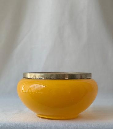 Glass Bowl with Metal Rim