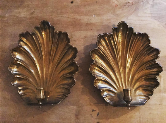 A Pair of Large Vintage Shell Sconces