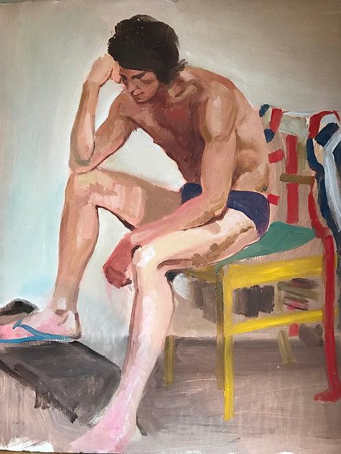 Scotting School Portrait of a Man, Oil on Panel