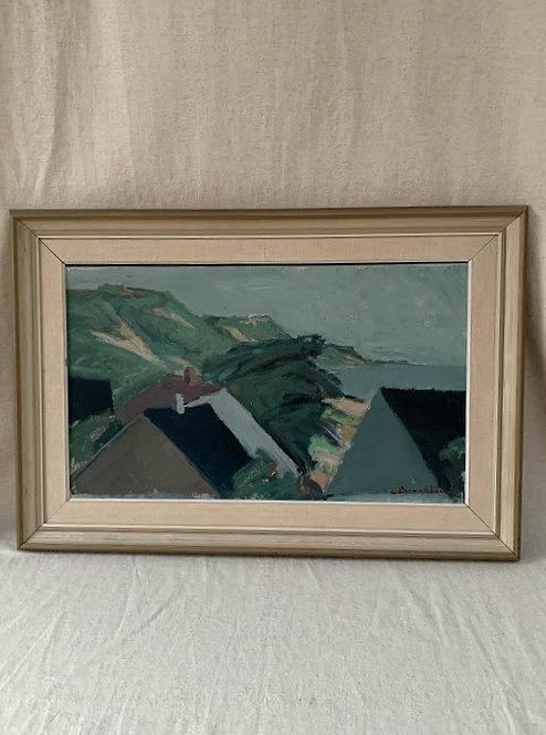 """Framed Oil on canvas, """"Backar Glumslöv"""", signed C Berndtsson."""