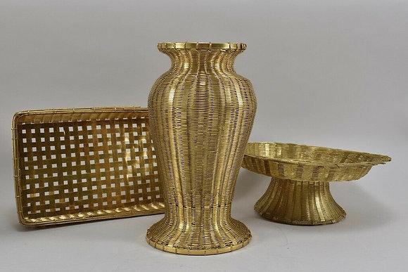 Braided Brass, Vase, Centre Piece & Basket