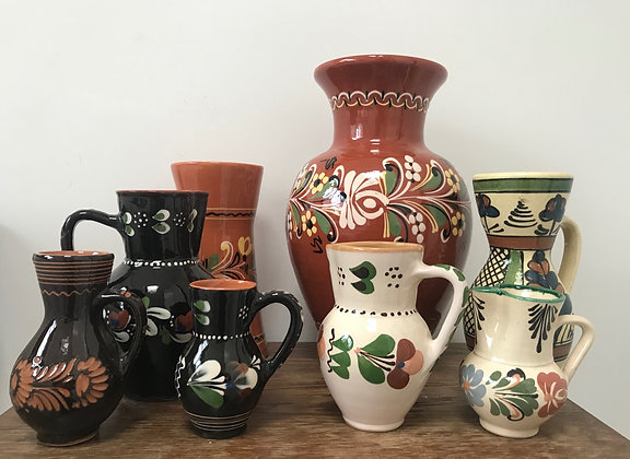 A collection of Hungarian Folk Art Vases and Jugs