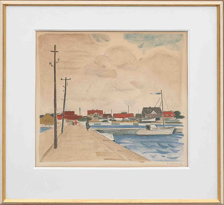 'Harbour', Chalk on Paper, Signed Olson '68.