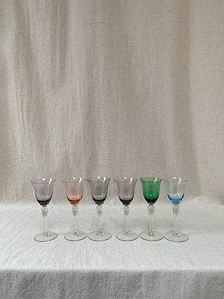 1950s Multi Coloured Wine Glasses
