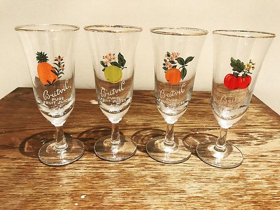 Set of 4 Vintage Britvic Fruit Juice Glasses