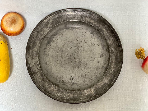 19th Century Tin Charger Plate, Initial JP