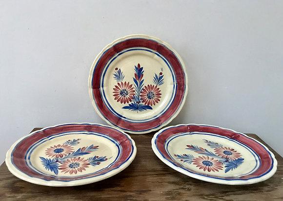 Three Henriot Quimper Plates