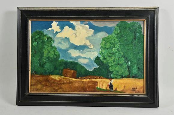 Framed Oil Painting, Landscape, signed Baum, dated 1987