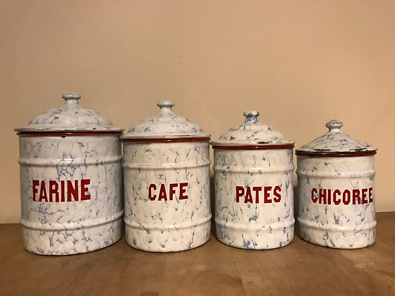 4 vintage French 1950's white enamel kitchen storage jars