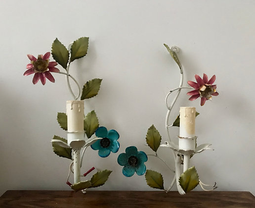 A Pair of Vintage Tole Wall Lights