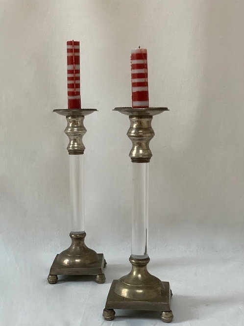 Pair of Vintage Lucite & Silver Plated Candlesticks