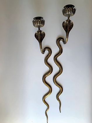 Egyptian Revival Brass Engraved Cobra Candle Wall Sconces.