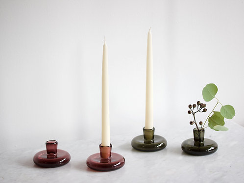 """Candlestick Holder + 12"""" Ivory Candle, Handcrafted Glassware"""