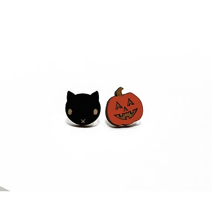 Jack & Cat Halloween Earrings