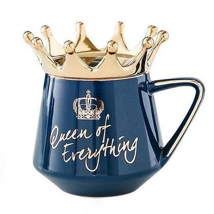 """Queen of Everything"" Dark Blue Crown Mug"