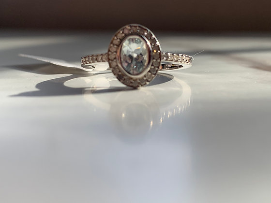 Silver Over 10K Gold Aquamarine and 0.16 CTW Diamonds