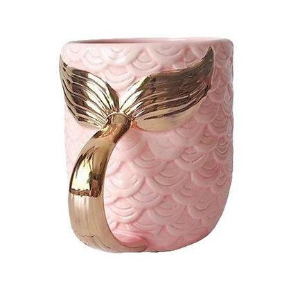 Pink mermaid mug