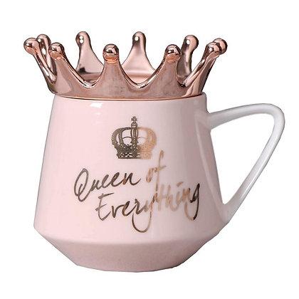 """Queen of Everything"" Pink Crown Mug"